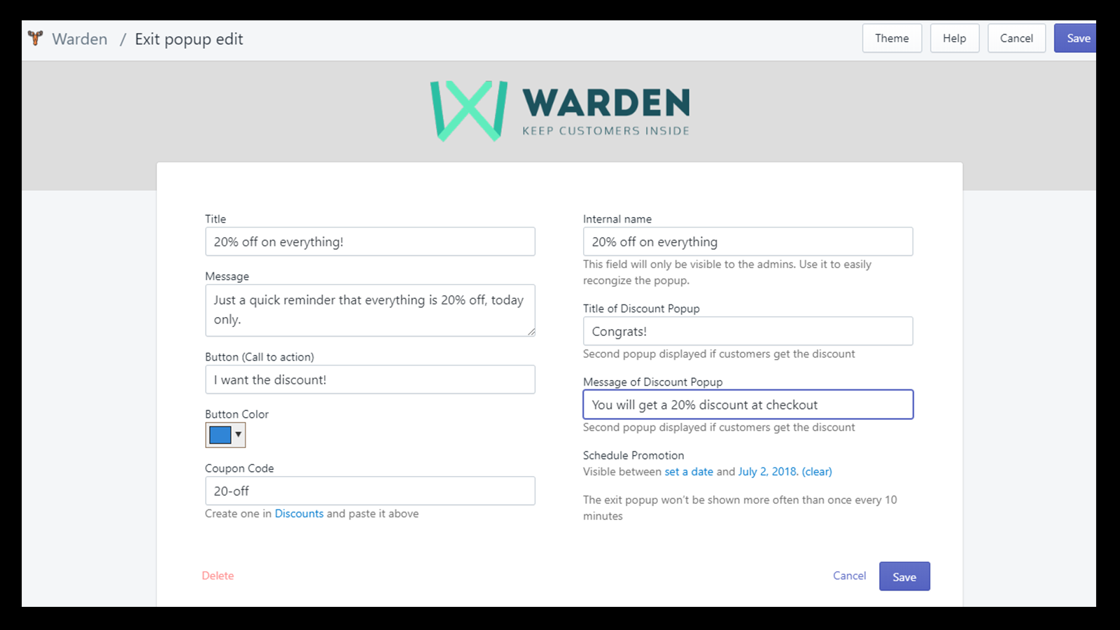 Warden app exit discount popup admin screen