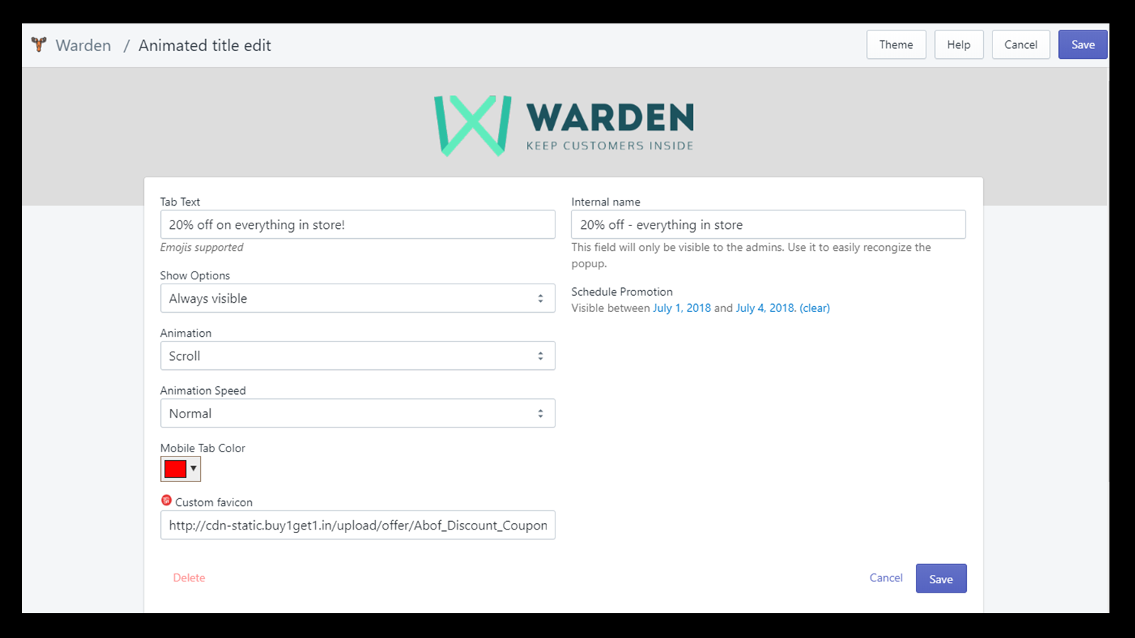 Warden app animated tab title admin screen