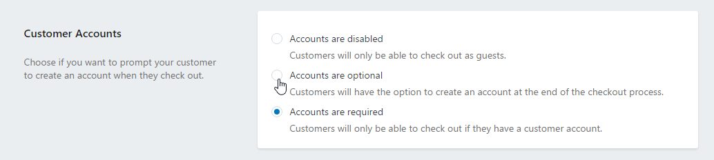 Put accounts optional in your Shopify accout