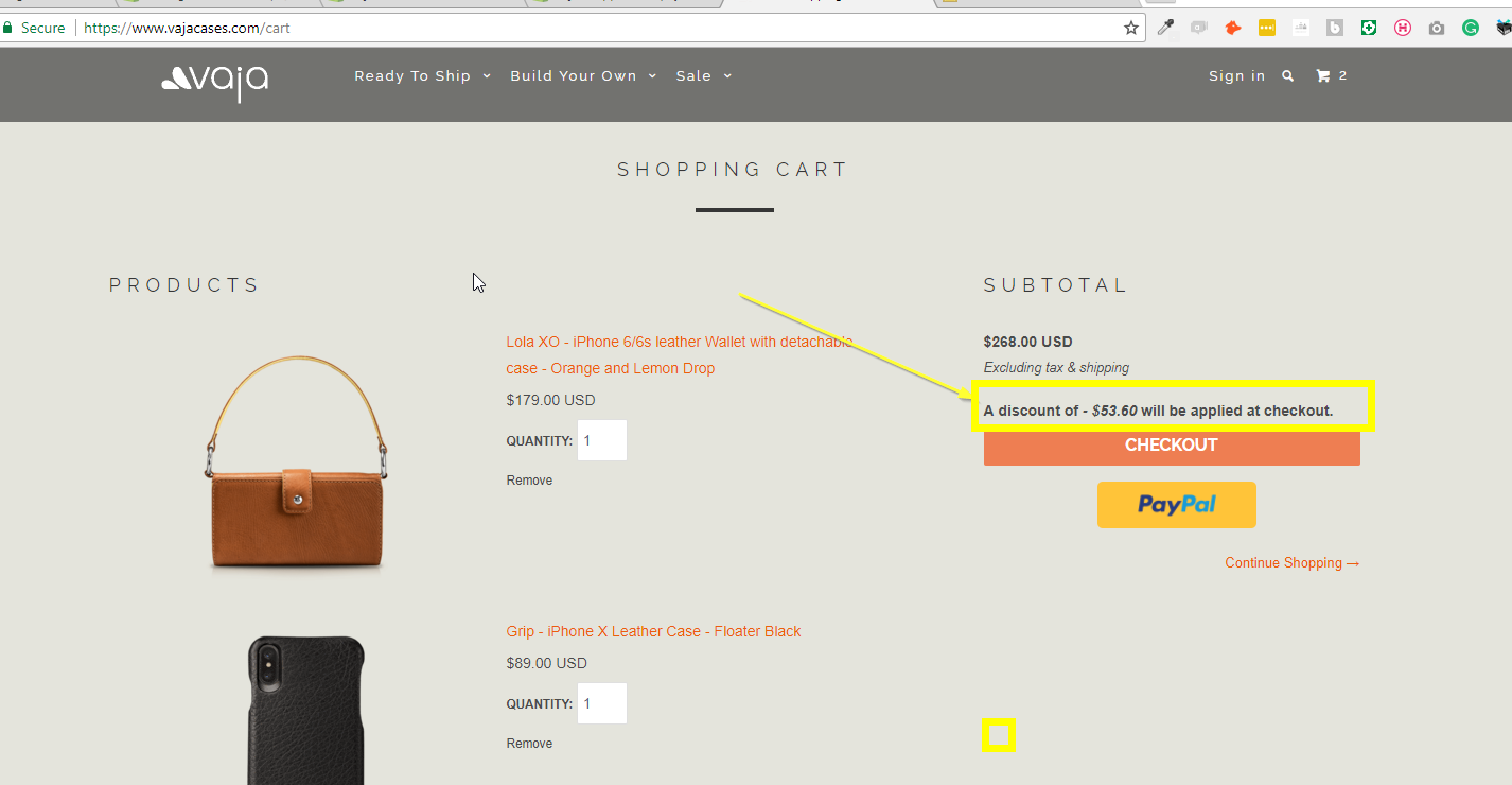 Display the active discount applied in your shopping cart on