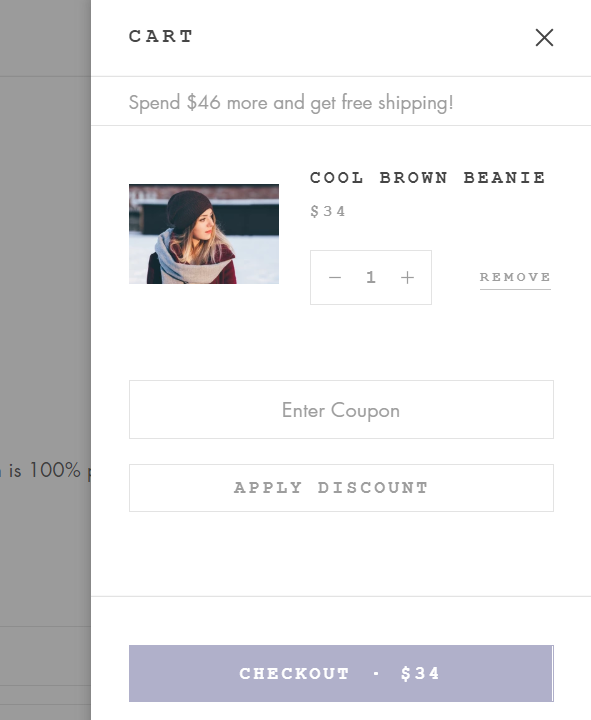 Shopify theme Prestige coupons in cart