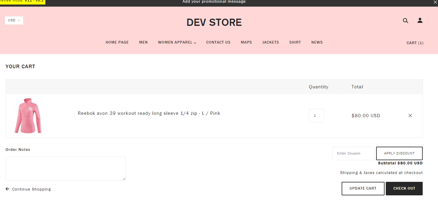 Blockshop theme for Shopify - carter coupon field in cart