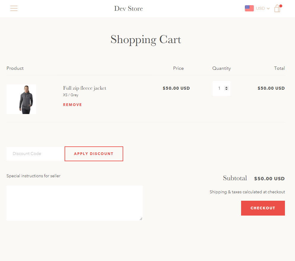 Shopify theme Narrative coupons in cart