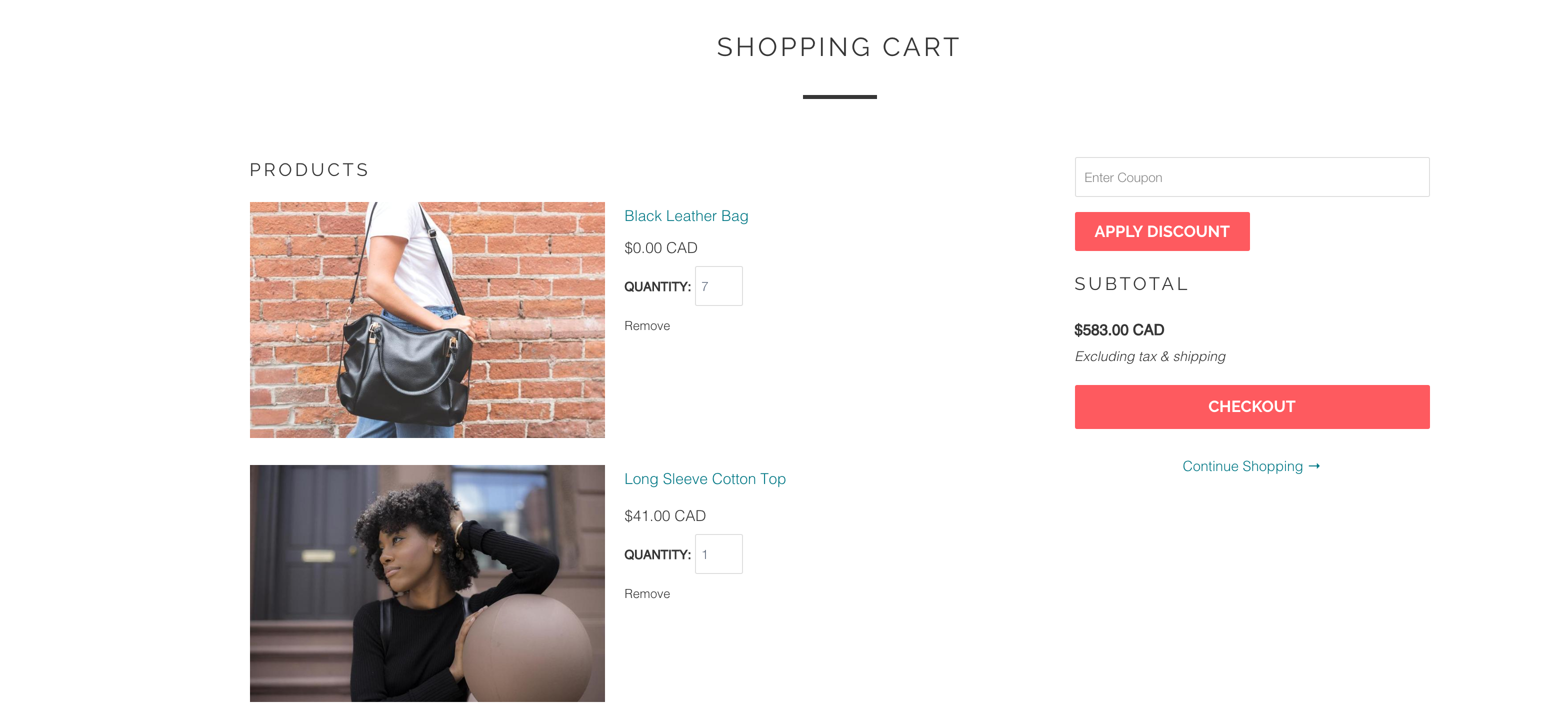 Impulse theme for Shopify - carter coupon field in cart