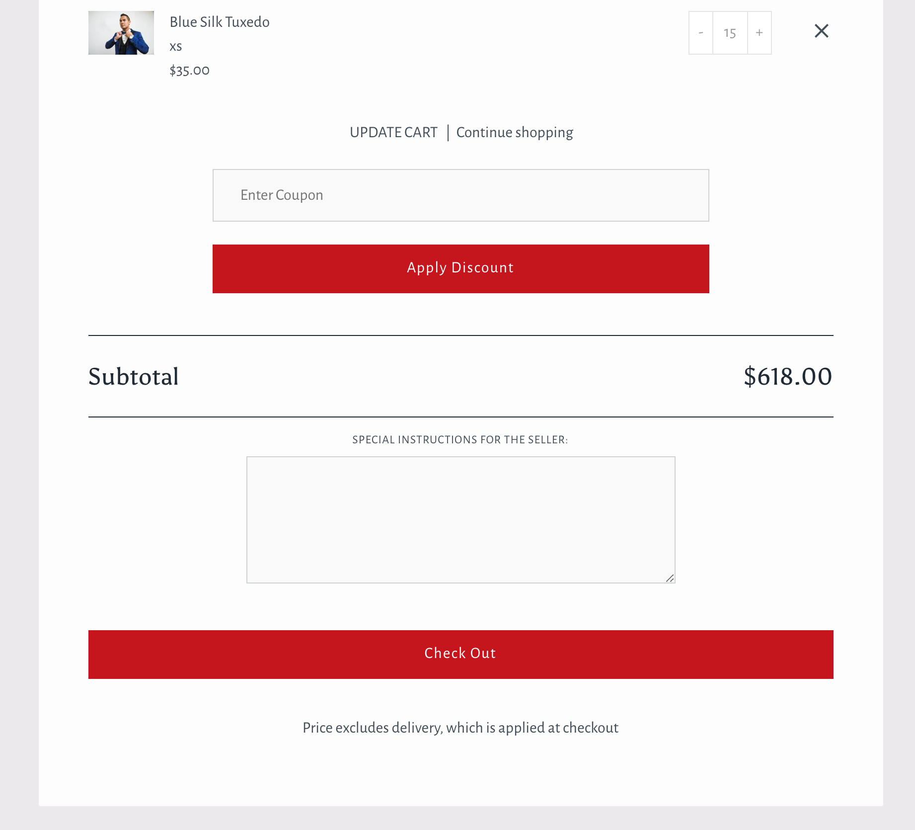 Showcase theme for Shopify - carter coupon field in cart