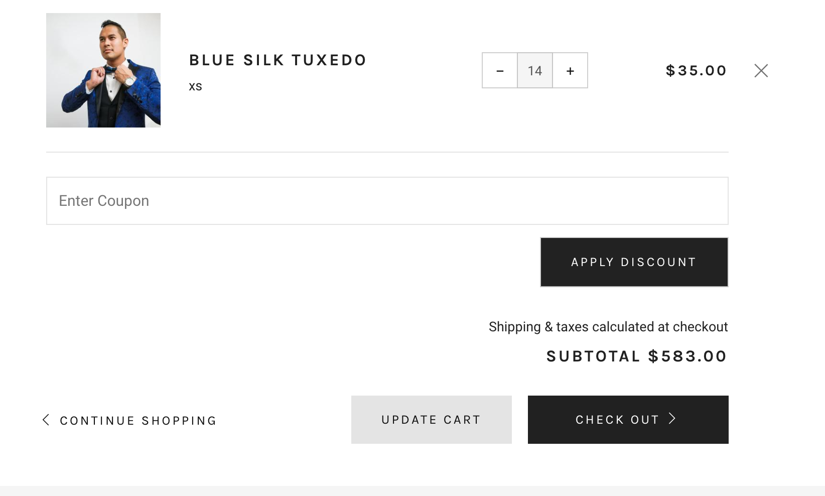 Venue theme for Shopify - carter coupon field in cart