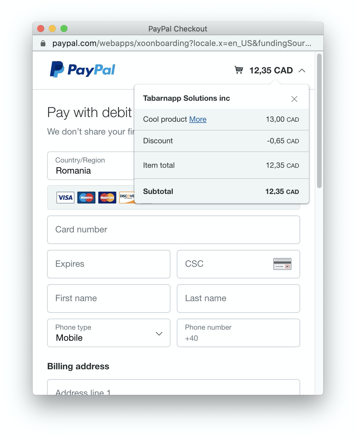 carter and paypal in shopify