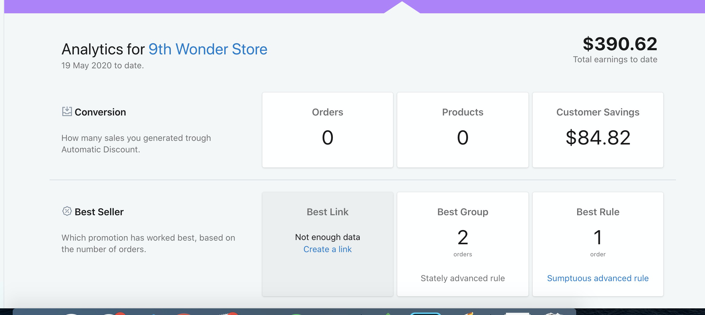 analytics shopify automatic discount